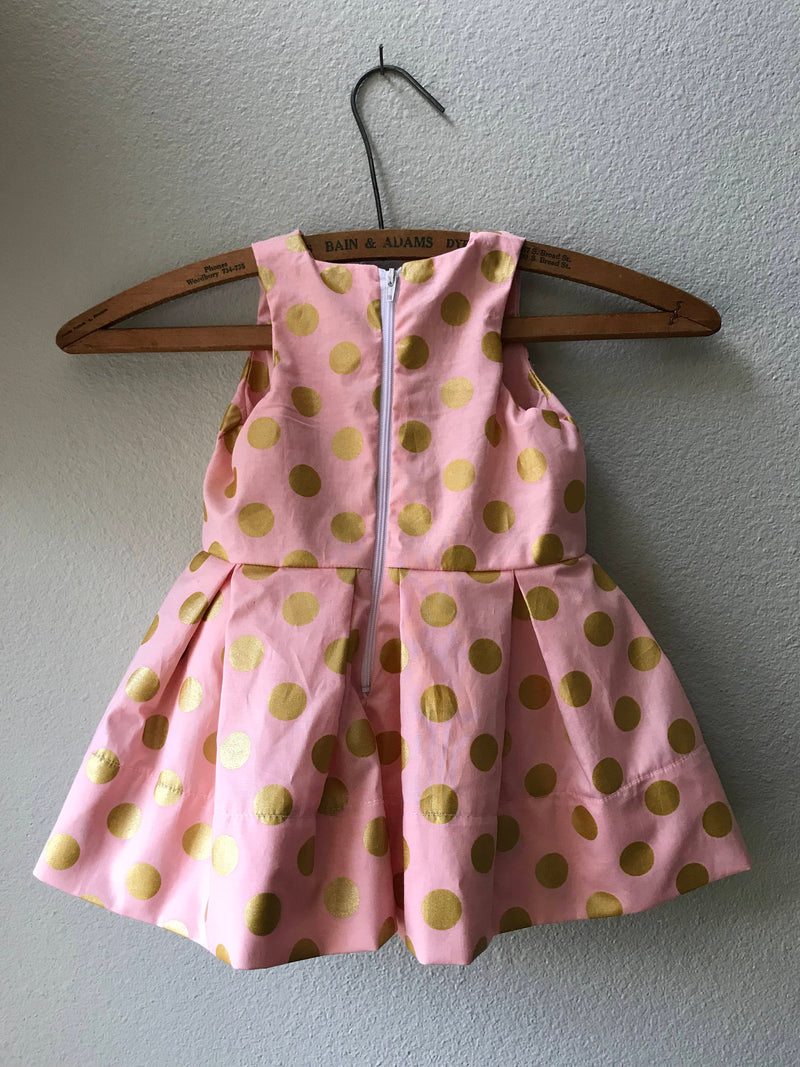 Little Girl Pink and Gold Polka Dot Special Occasion Dress - Cyndy Love Designs