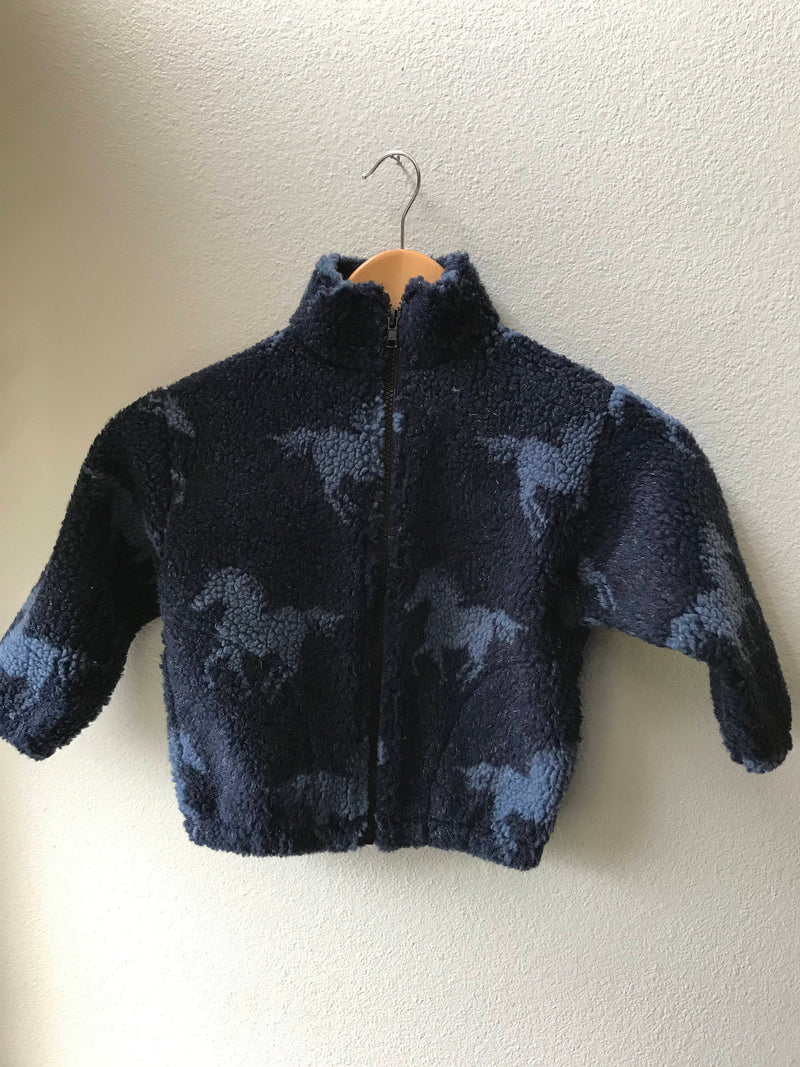 Kids Navy Blue & Light Blue Horse Fleece Zipper Jacket Kids Coat - Cyndy Love Designs