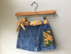 Toddler Denim Skirt Size 18 mo with Oregon Tribal Native American wool Fabric applique - Cyndy Love Designs