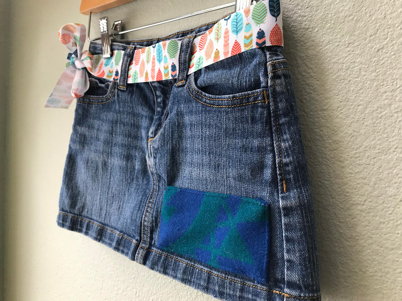 Girls Denim Skirt Size 6 with Oregon Tribal Native American wool Fabric applique - Cyndy Love Designs