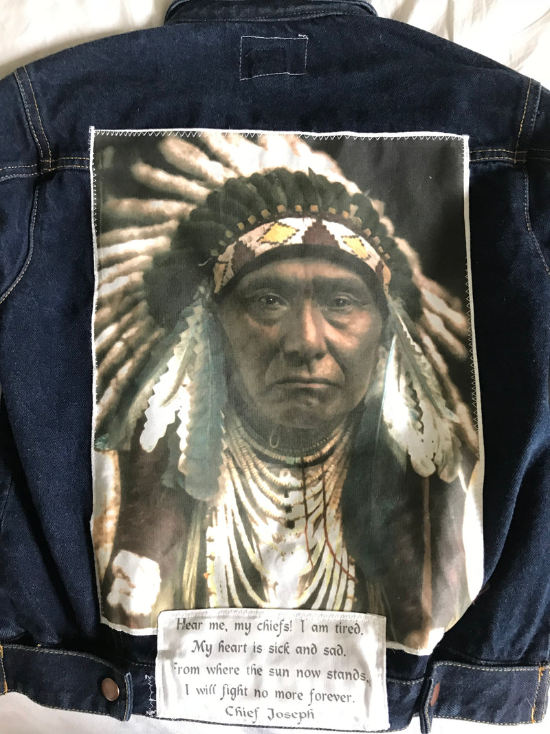 Men's or Women's Denim Vintage Native American Jean Jacket with Chief Joseph appliques - Size 14/16 - Cyndy Love Designs