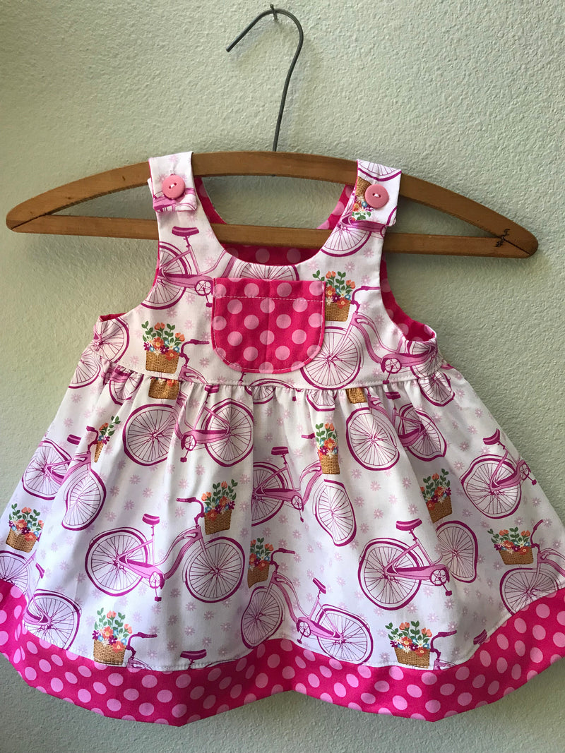 "Girls ""The Little Nell"" Pink Bicycle Summer Beach Dress - Cyndy Love Designs"