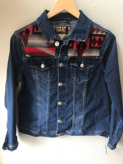Denim Women's Size Small Vintage Native American Jean Jacket with Oregon wool - Cyndy Love Designs
