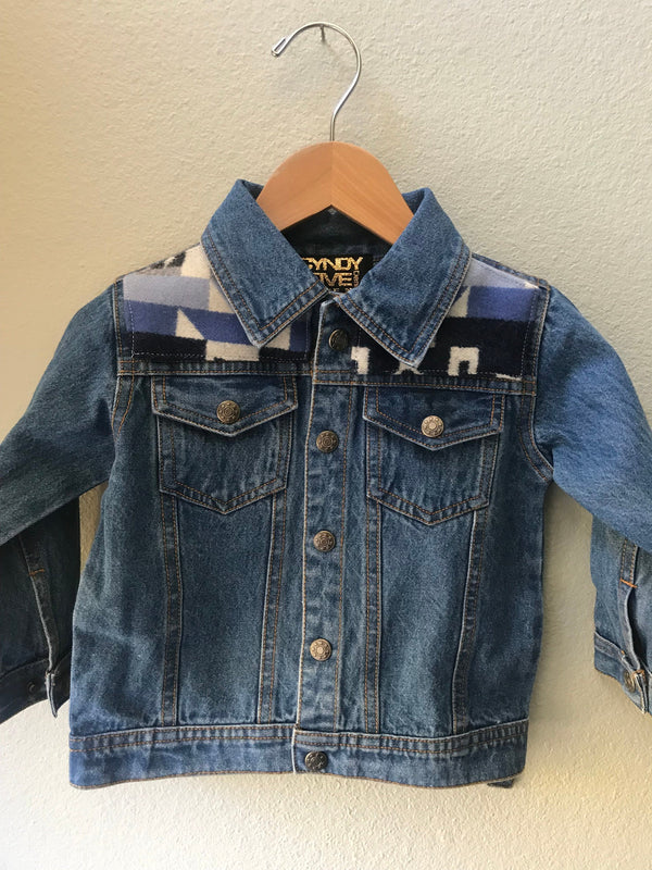 Kids Size 2T Denim Vintage Native American Jean Jacket with Oregon wool fabric applique - Cyndy Love Designs