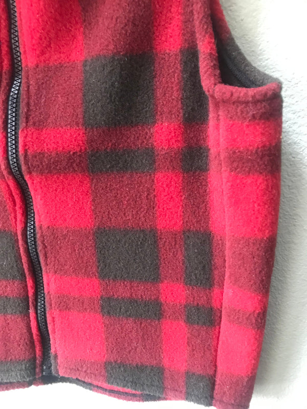 Polartec Fleece Vest Size S/M  Unisex Adult/Teen Red Plaid Fleece Zipper Vest - Cyndy Love Designs
