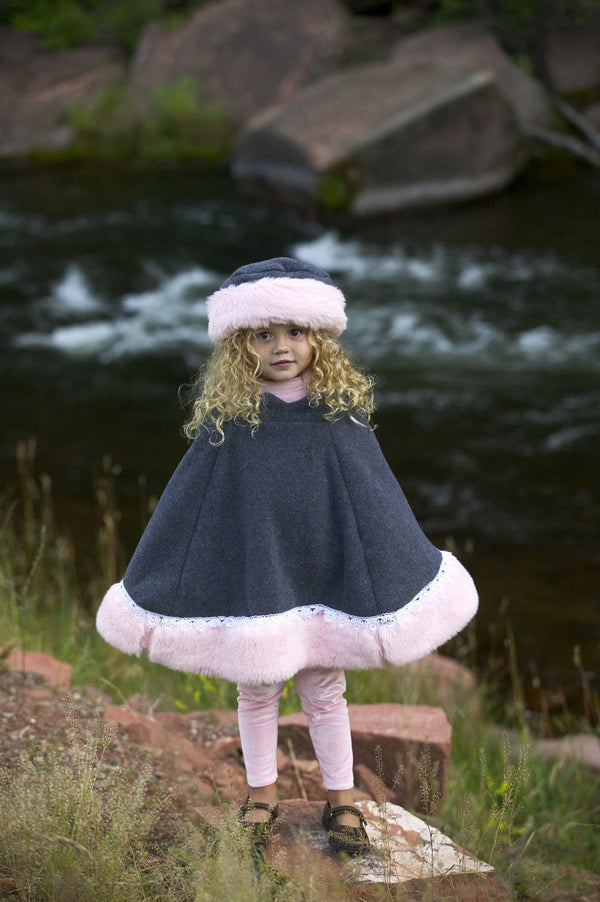 Pink Girls Poncho Faux Fur, Grey Polar Fleece - Cyndy Love Designs