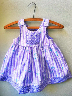 Little Girls Dress, Summer Girls Dress, Lavender Birds - Cyndy Love Designs