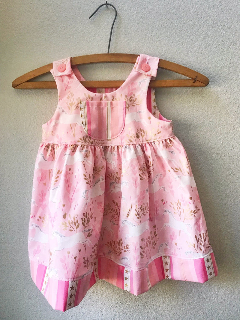 Little Girls Pink Unicorn Dress - Cyndy Love Designs