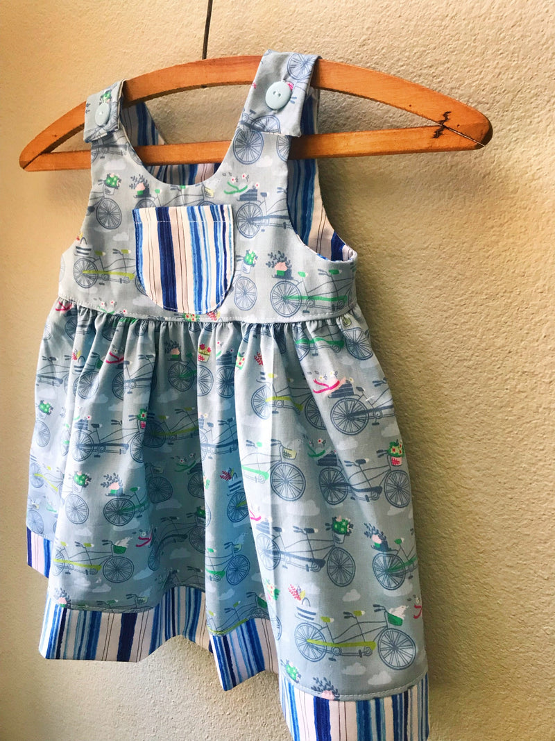 Little Girls Dress, Blue Summer Girls Dress - Cyndy Love Designs