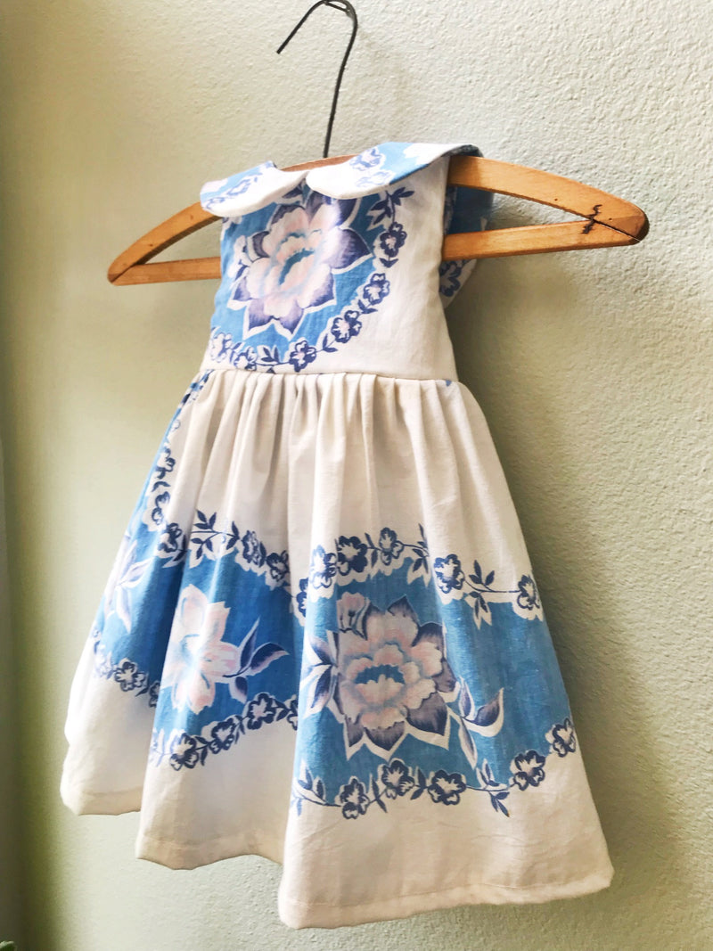Little Girls Blue Vintage Tablecloth Dress, Size 12 month, Antique Fabric, Vintage 1930's 40'sTablecloth - Cyndy Love Designs