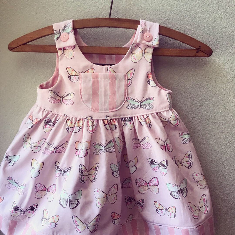 Little Girls Pink Butterfly Print Dress, Summer Girls Dress - Cyndy Love Designs