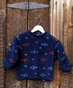 Boys Fleece Pullover Navy Tweed Berber - Cyndy Love Designs