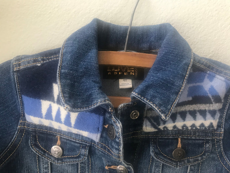 Kids Size 4T Denim Vintage Native American Jean Jacket with Oregon wool fabric applique - Cyndy Love Designs