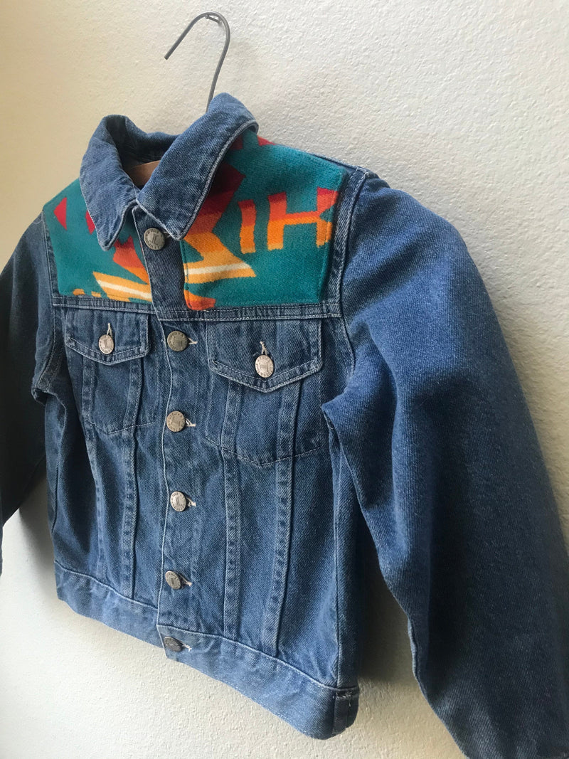 Kids Size 4 Denim Vintage Native American Jean Jacket with Oregon wool fabric appliques - Cyndy Love Designs