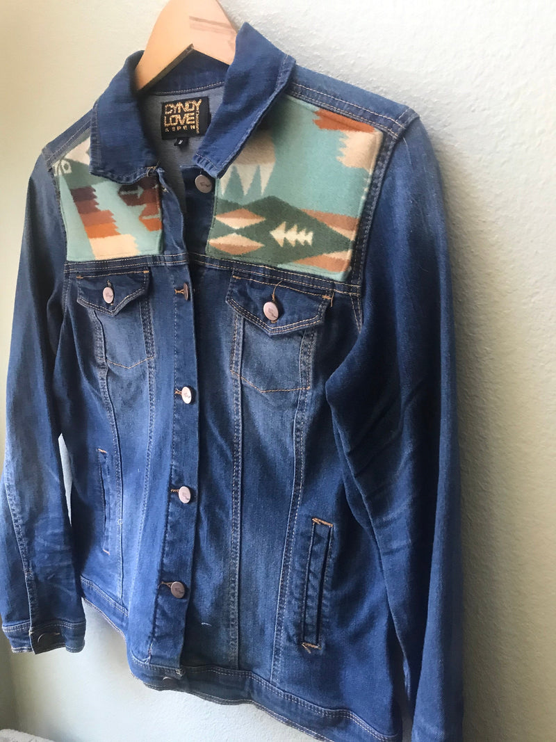 Adult Size Medium Denim Vintage Native American Jean Jacket with Oregon Wool - Cyndy Love Designs