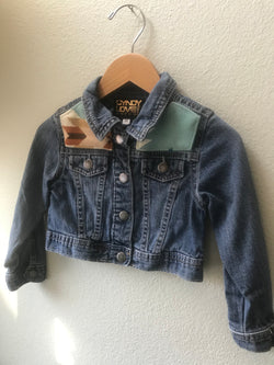 Kids Sz 3T Denim Vintage Native American Jean Jacket with Oregon wool fabric - Cyndy Love Designs