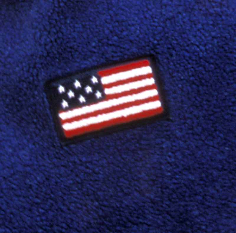 Blue Fleece Pullover w/Classic USA Flag Embroidered Applique - Cyndy Love Designs