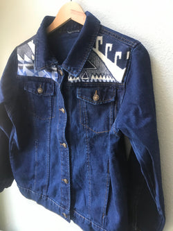 Denim Size Teen 14/16, Adult Small Vintage Native American Jean Jacket with Oregon wool fabric - Cyndy Love Designs