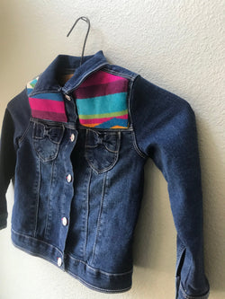Girls Size 5 Denim Vintage Native American Jean Jacket with Oregon wool fabric appliques - Cyndy Love Designs