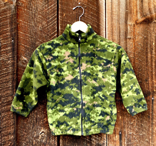 Kids Camouflage Green Fleece Zipper Jacket - Cyndy Love Designs