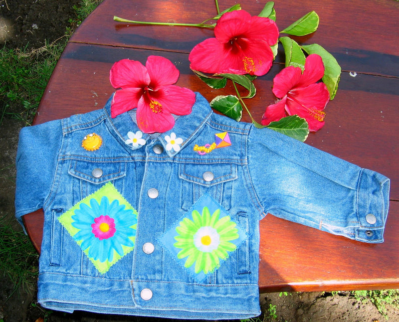 Girls Denim Jean Jacket with Bright Flower and Summer Appliques - Cyndy Love Designs