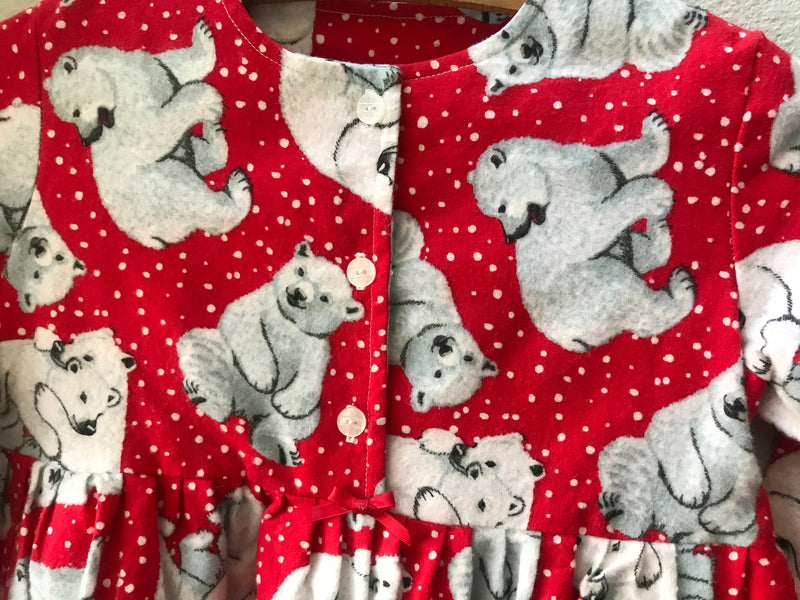 Little Girls Polar Bear Express Flannel Dress, Size 5/6 - Cyndy Love Designs