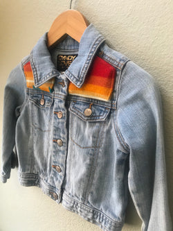 Kids Size 2T Denim Vintage Native American Jean Jacket with Oregon wool fabric appliques - Cyndy Love Designs