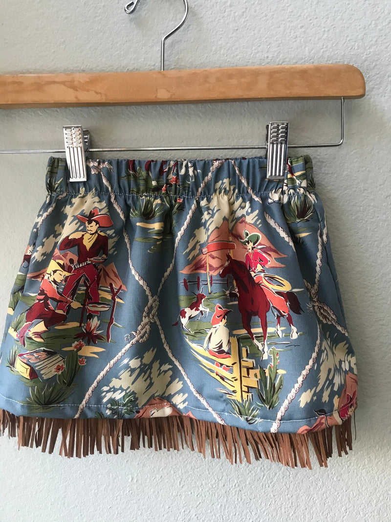 Little Girls Skirt Blue Cowboy Print with Fringe - Cyndy Love Designs
