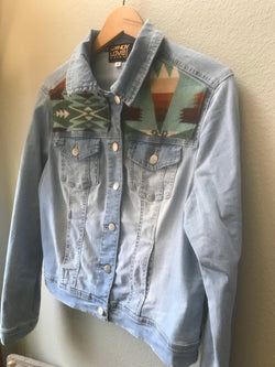 Adult Unisex Size Medium Denim Vintage Native American Jean Jacket with Oregon Wool fabric - Cyndy Love Designs