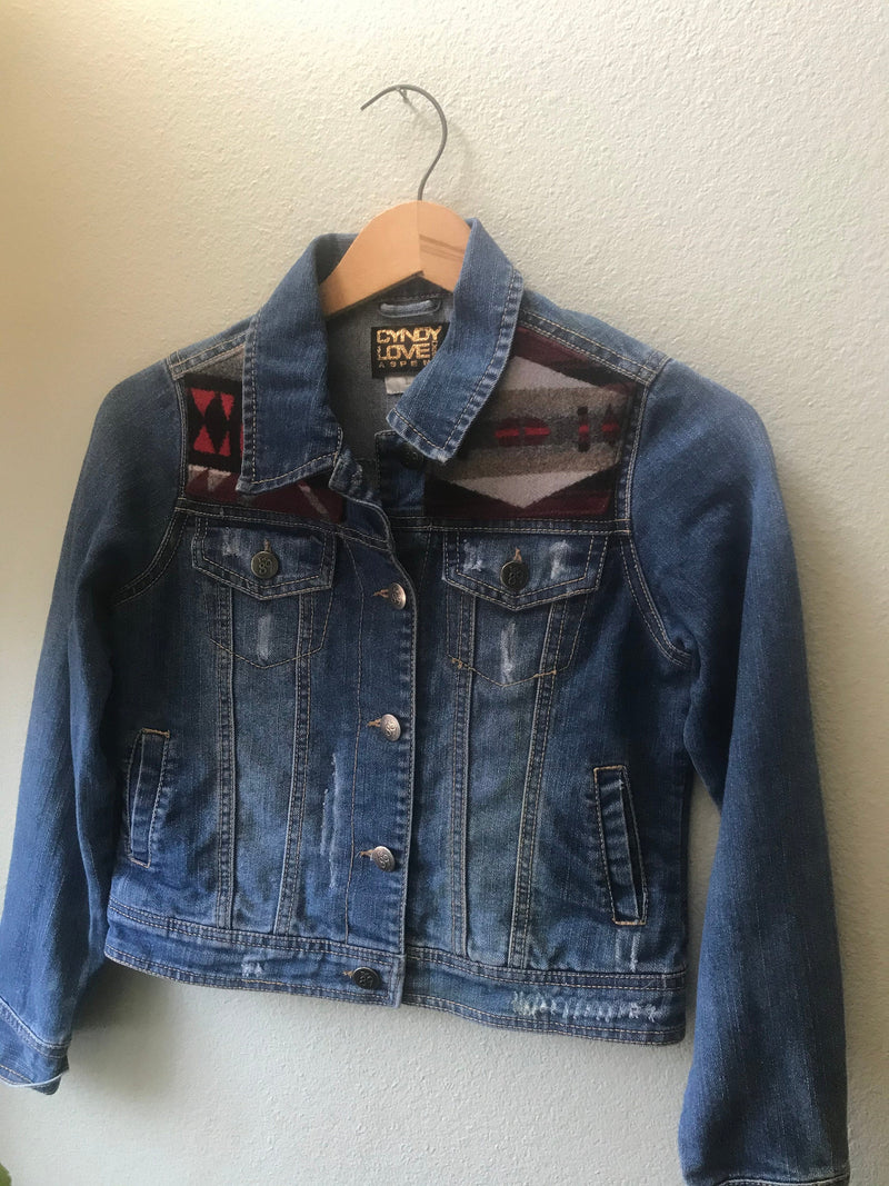 Denim Size Teen 10/12  Vintage Native American Jean Jacket with Oregon wool fabric - Cyndy Love Designs