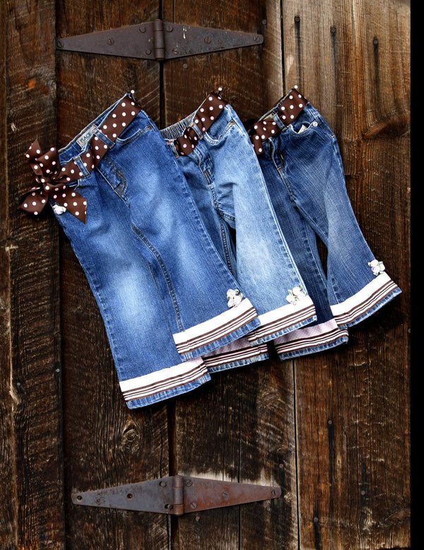 Girls Embellished Denim Jeans with Polka Dots & Flowers - Cyndy Love Designs