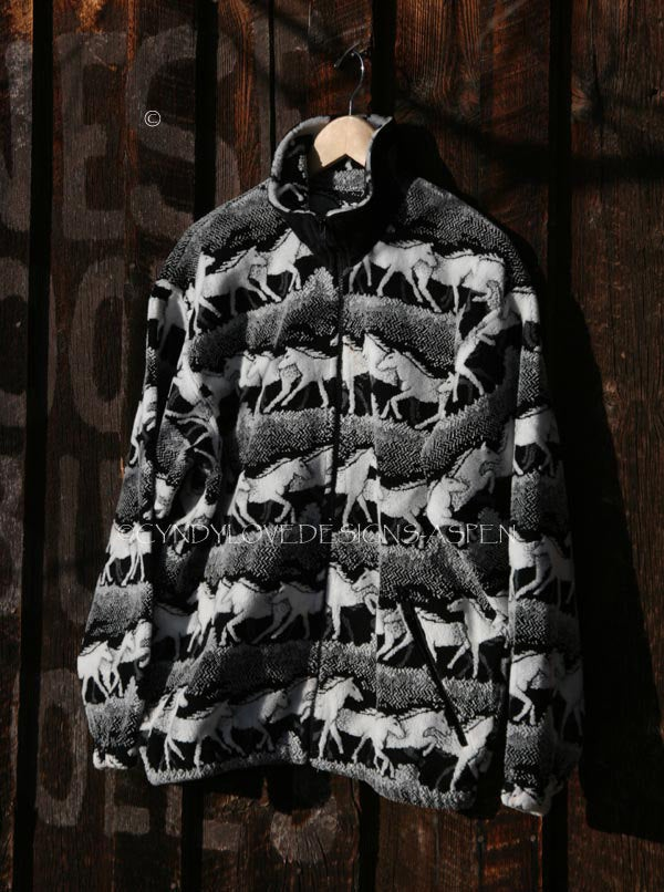 Men's or Women's Black & White Horse Print Fleece Zipper Jacket, Unisex - Cyndy Love Designs