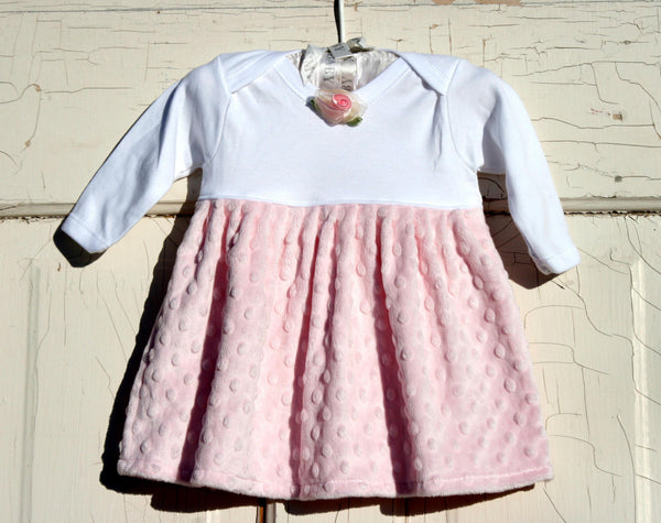 Pink Minky Dress for Baby Toddler Girls with Rosette - Cyndy Love Designs