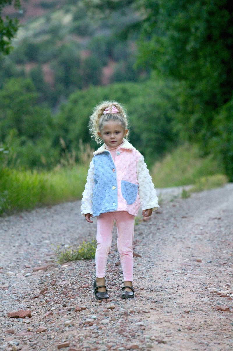 Little Girls Toddler Pastel Pink Chenille Summer Lightweight Cotton Jacket - Cyndy Love Designs