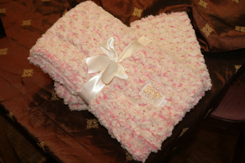 Baby Girl Pink Blanket Bedding Rosebud Print - Cyndy Love Designs