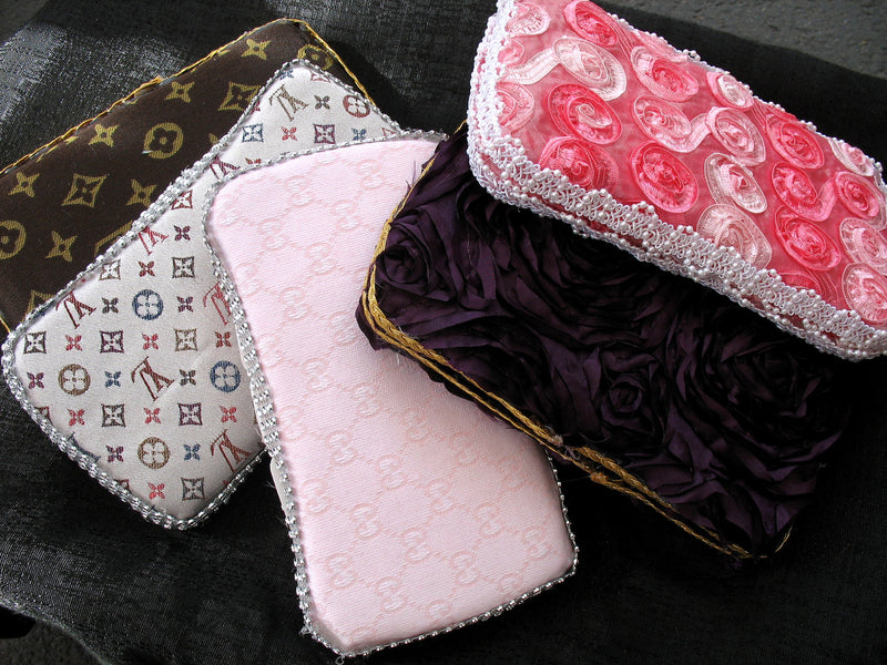 Baby Diaper Wipe Case Pink Satin Rosette Fabric - Cyndy Love Designs