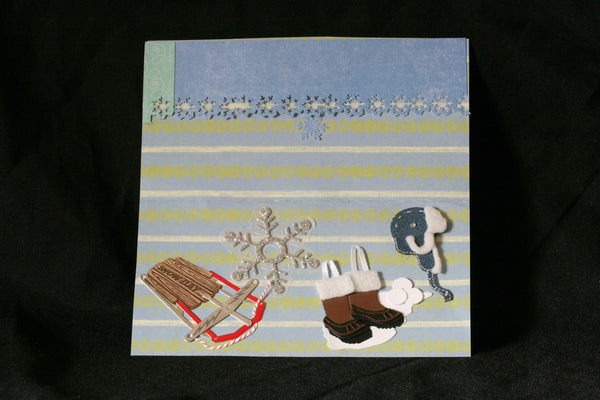 Checkbook Cover Vinyl Unique Handmade Snow and Sledding Design - Cyndy Love Designs