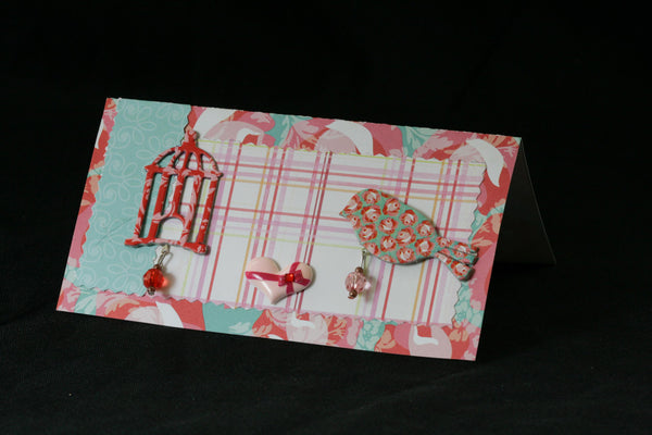Checkbook Cover Vinyl Unique Handmade Bird Cage - Cyndy Love Designs
