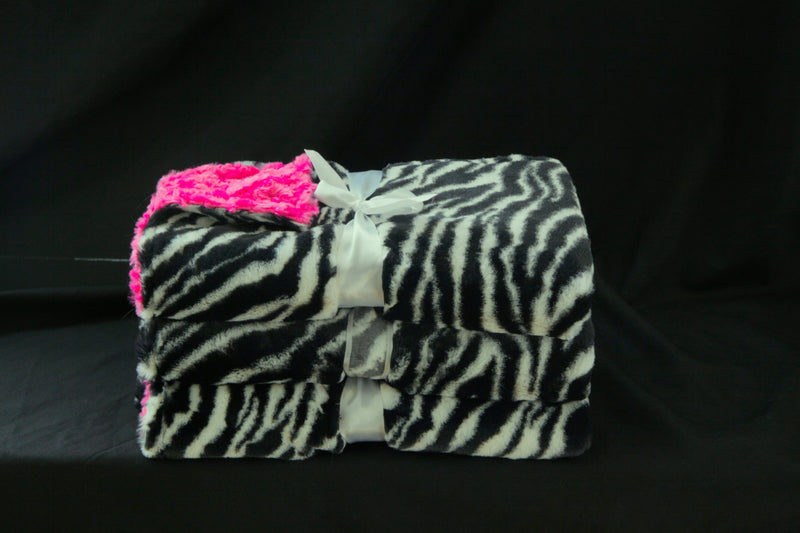 Baby Girl Baby Blanket  Zebra and Hot Pink Rosette Print - Cyndy Love Designs