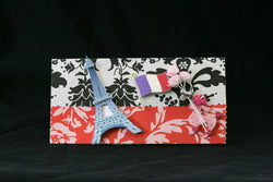 Checkbook Cover Handmade Clear Vinyl Paris France Design - Cyndy Love Designs