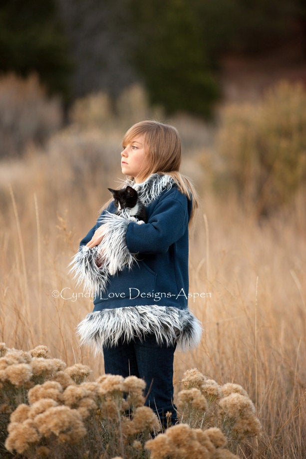 Kids Hooded Pullover Jacket in Polar Fleece with Faux Mongolian Fur Trim - Cyndy Love Designs