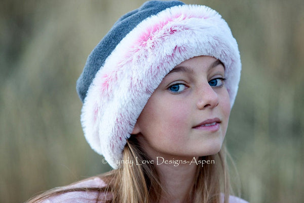 Girls Hat  Polar Fleece Grey with Pink Faux Fur Trim - Cyndy Love Designs