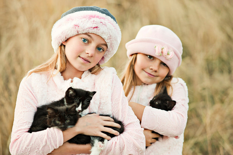 Girls Hat  Polar Fleece Pink with Pink Roses - Cyndy Love Designs