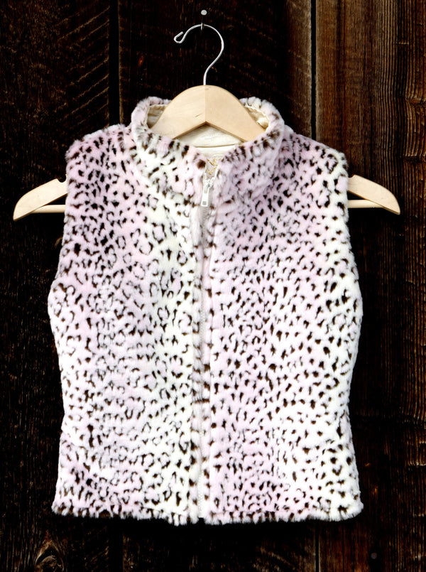 Girls Faux Fur Vest Pink and Brown Leopard Print - Cyndy Love Designs