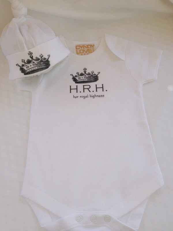 "Baby Girl Bodysuit, TShirt for HRH ""Her Royal Highness"" - Cyndy Love Designs"