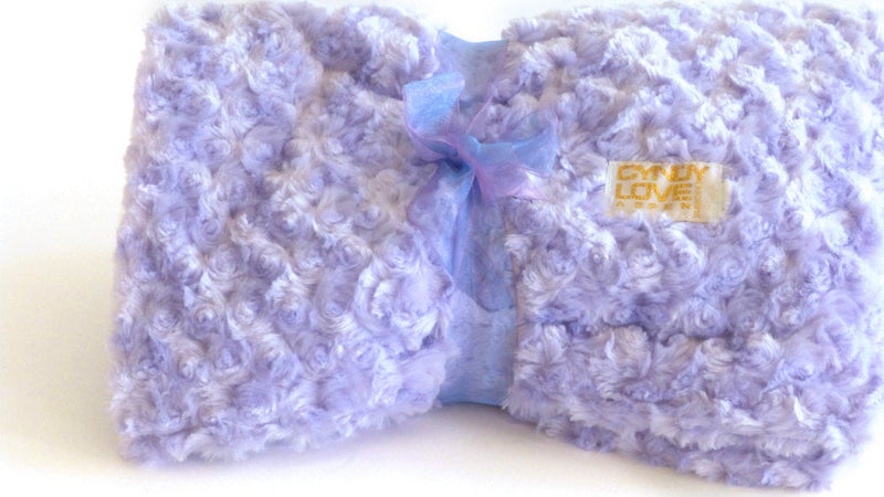 Luxurious Baby Blanket Lavender Rose Print - Cyndy Love Designs