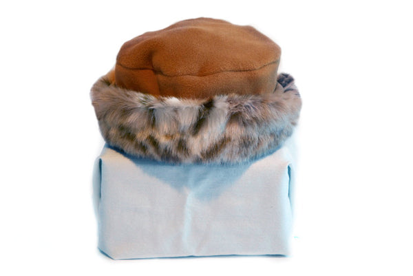 Girls Kids Winter Hat Fleece with Snow Leopard Faux Fur Trim - Cyndy Love Designs