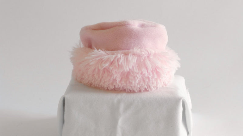 Girls Pink Hat  Polar Fleece with Pink Faux Fur Trim - Cyndy Love Designs