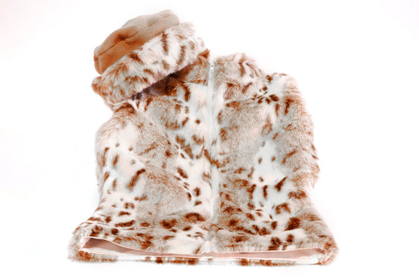 Girls Faux Fur Vest Snow Leopard Print - Cyndy Love Designs