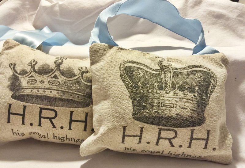 Baby Boy Pillow with Crown His Royal Highness is Sleeping Baby Gift - Cyndy Love Designs